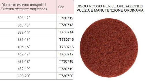 Disco rosso per pulizia e manutenzione ordinaria