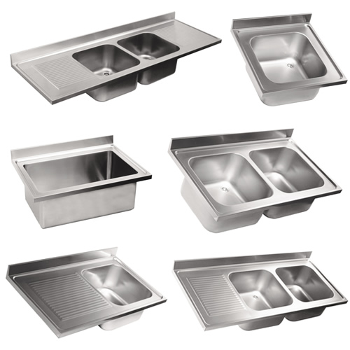 Top sinks in stainless steel