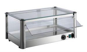 Vetrina espositore da banco calda 1 PIANO  in lamiera di acciaio inox P= 400 W Dimensioni Cm L37xP37x24 H Modello VKB31R