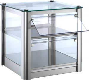 VKB32N Neutral countertop display cabinet 2 TOPS in stainless steel sheet