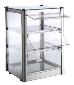 VKB33N Neutral countertop display cabinet 3 SHELVES in stainless steel sheet