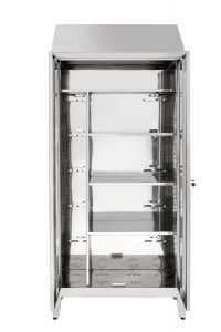 IN-696.02  Armadio Porta scope a 2 Ante In Acciaio Inox Aisi 304 Cm. 95X40X215H
