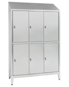 IN-S50.694.10.430 Multi-storey cupboard in stainless steel AISI 430 A 6 Seater 6-Door Overlapping Cm. 120X50X215H