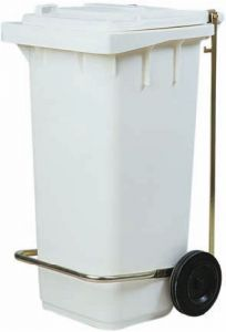 AV4674 White dustbin 2 wheels 100 liters Optional pedal
