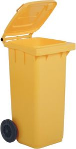 AV4678 Yellow dustbin 2 wheels 100 liters