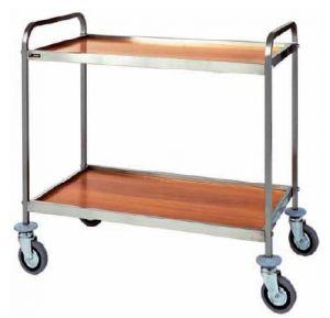CA 1001 Stainless steel service trolley 2 wood veneer shelves 103x57x97h