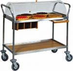 TCA 1154 Trolley with plexiglas dome 2 shelves 110x57x110h