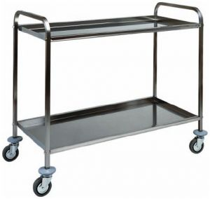 CA 1382 Stainless steel service trolley 2 shelves 91x57x96h