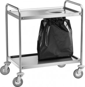 CA1390S Stainless steel trolley 2 floors with 90x60x94h waste bin
