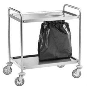 CA1391S Stainless steel trolley 2 shelves with 110x60x94h waste bin