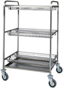 CA1399 Stainless steel dish drying rack trolley 3 shelves