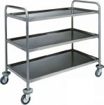 TCA 1410 Stainless steel service trolley 3 shelves load 100 kg 90x60x104h