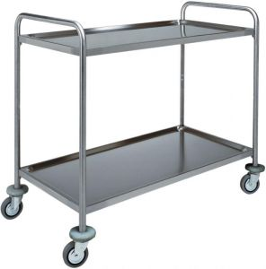 CA 1413 Stainless steel service trolley 2 shelves load 100 kg 110x70x94h