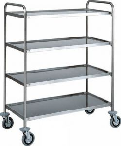 CA 1424 Stainless steel service trolley 4 shelves load 100 kg 90x60x140h