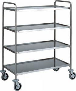 CA 1425 Stainless steel service trolley 4 shelves load 100 kg 110x60x140h