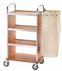 CA1505W Laundry cleaning multipurpose cart folding sack-holder Wengé