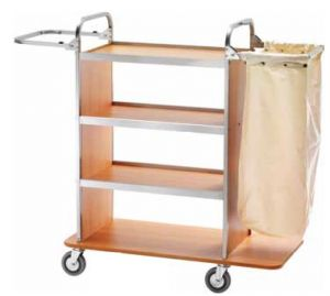 CA1515 Laundry cleaning multipurpose cart with folding sack-holder Low shelf