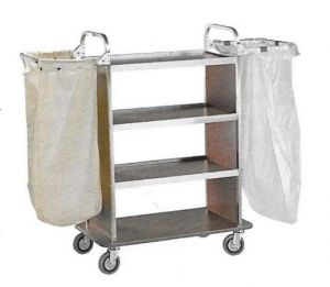 CA1515W Laundry cleaning multipurpose cart with folding sack-holder  Wengé