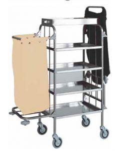 CA1525 Carrello portabiancheria pulizia multiuso in acciaio inox 4 piani