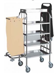 CA1525 Stainless steel trolley for laundry cleaning 4 shelves