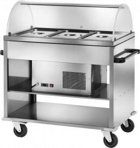 TCAR 2780 Carrello acciaio inox refrigerato (+2 +10°C) 3 GN1/1 Cupola plx