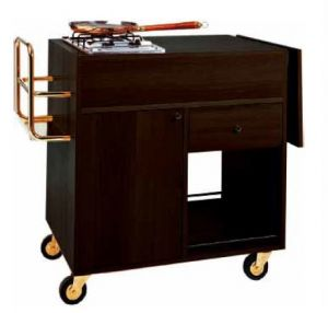 CF 1202W Flambé trolley Wengé 2 cooking range with 1 fire each