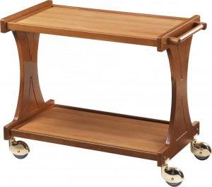 CL2001 Carrello servizio legno noce chiaro 2 piani 106x55x85h