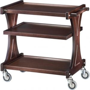 CL2150W Carrello servizio legno Wengé 3 piani 86x55x85h