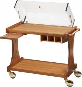 CL 2350 Wooden trolley de service for cakes cheese with dome 86x55x95h