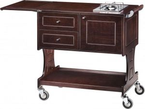 CL 2752W Flambé trolley 2 cooking ranges with 1 fire each WENGE