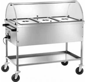 CT1760C Stainless steel bain-marie thermal trolley with cap 117x65x85h