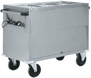 CT1766 Bain-marie trolley Cabinet AISI 304 stainless steel 2x1/1GN 96x68x92h