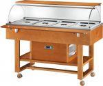 TELR 2826 Carrello espositore legno refrigerato (+2°+10°C) 4 1/1GN cupola/pianetto