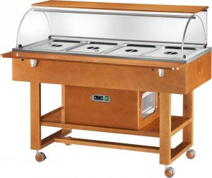 ELR2826BT Refrigerated display case cart (-5°+5°C) 4x1/1GN dome top shelf