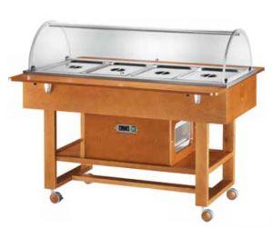 ELR2827BT Carrello in legno noce refrigerato (-5°+5°C) 4x1/1GN cupola plx