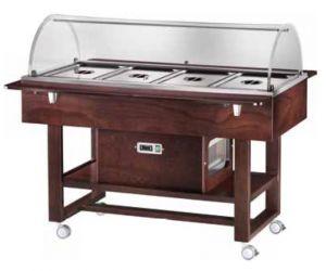ELR2827BTW Carrello in legno refrigerato (-5°+5°C) 4x1/1GN cupola plx Wengé