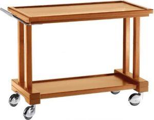 LP800 Carrello servizio legno massello tinto noce 2 piani 81x55x82h