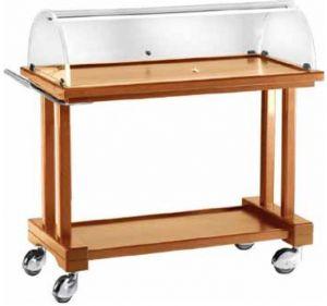LPC800 Carrello legno tinto noce 2 piani cupola 81x55x108h