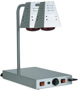 PCI4718D Piano caldo in acciaio inox con 2 lampade raggi infrarossi 58x33x68h