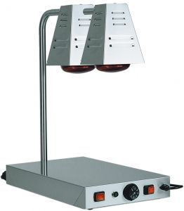 PCI4718D Stainless steel warming surface with two infrared lamps 58x33x68h