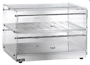 VBN4786 Stainless steel neutral displaycase 2 shelves 80x35x25h