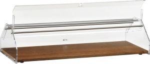 VL4749 Vetrinetta neutra piano legno cupola plexiglass 85x35x21h