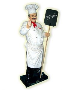 ER006 Cook with mustache 3D fiberglass with black-board high 180 cm