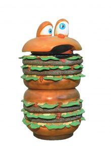 SR014 Hamburger wastepaper - 3D advertising wastepaper for gastronomy height 133 cm
