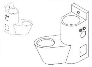 LX3650 Professional combination toilet + sink - Left version - satin