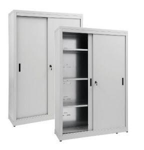 IN-Z.690.18.60 Storage Cabinet with Sliding Doors plasticized zinc 180x60x180 H