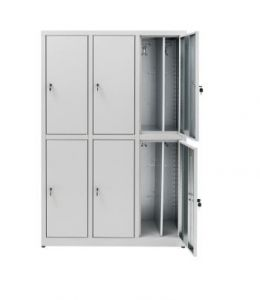 IN-Z.694.07 Dressing Cabinet 6 Doors Overlapped plasticized zinc - 120x 40x180 H