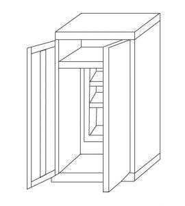 IN-Z.696.02   2-door zinc-coated Wall Sconce holder 80x40x180 H