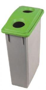 T102208 Grey Polypropylene waste bin with green lid 2 holes 90 liters