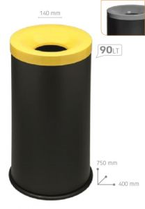 T770024 Fireproof paper bin Black steel with grey colored lid 90 liters